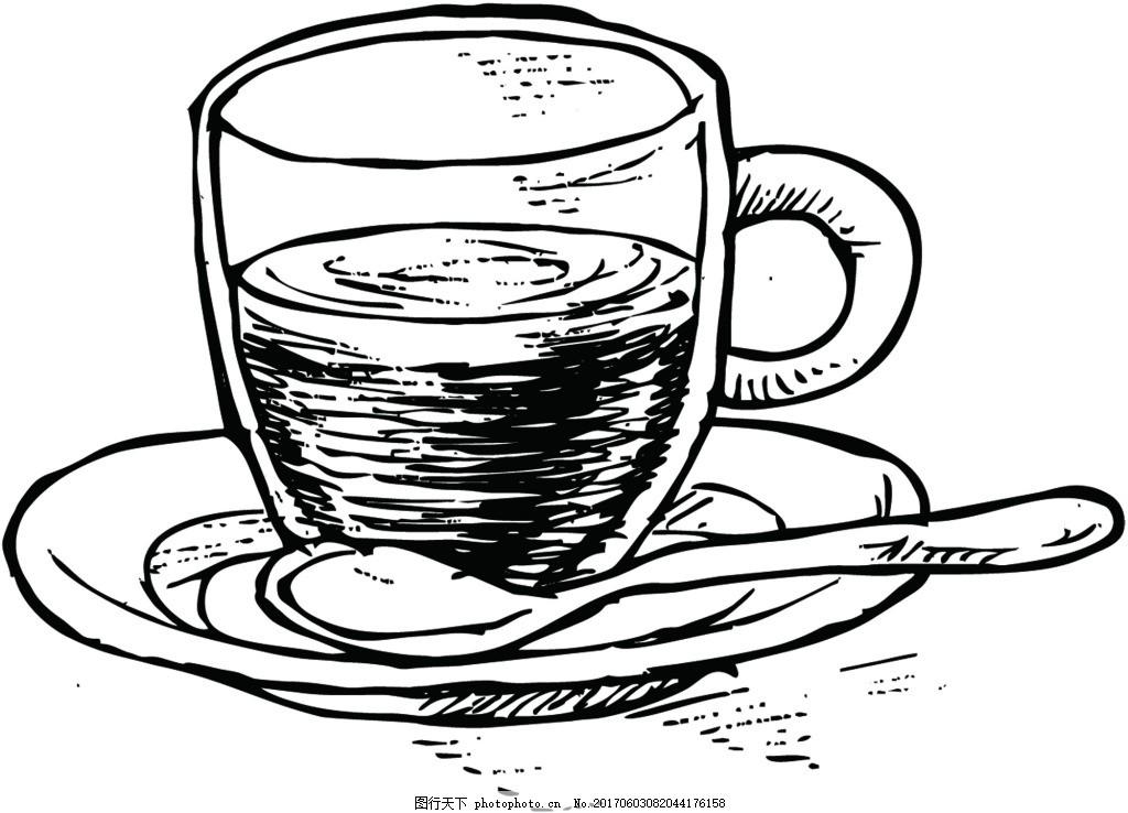 手绘彩铅咖啡杯矢量高清png免抠素材 透明 铅笔画 手绘 冰淇淋 夏天