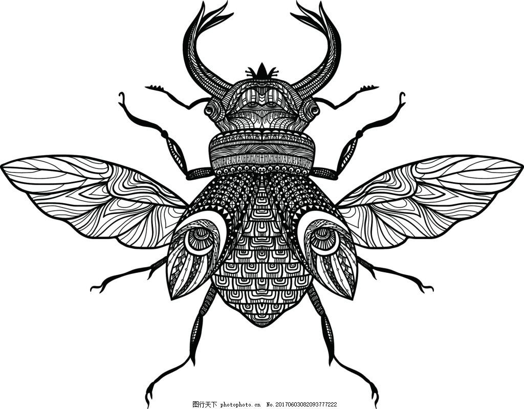 八角仙 翅膀 黑白 欧美 手绘 艺术 精细 铅笔画 纹理 插画 印刷 卡通