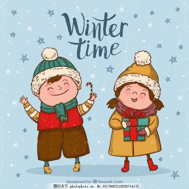 快乐儿童手绘冬装的背景 年份 冬天 雪 孩子 复古的背景 快乐的