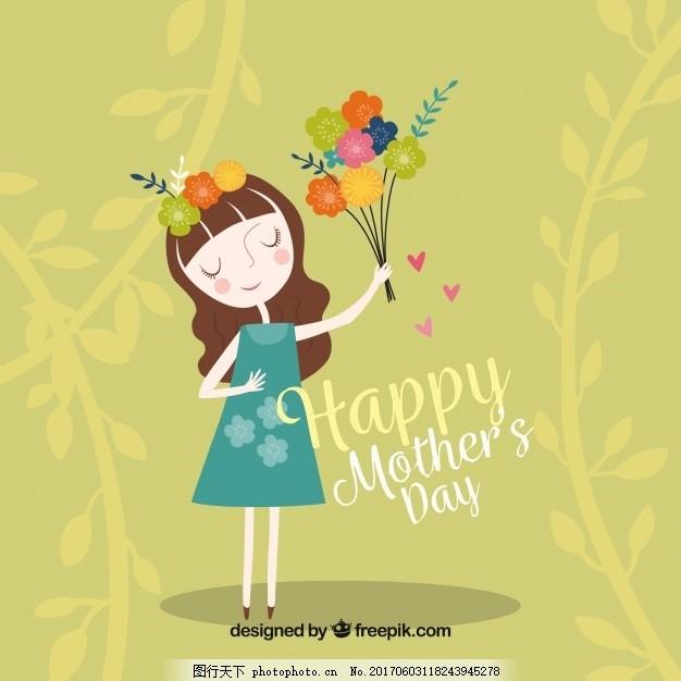 母亲节送花的妇女的绿色背景