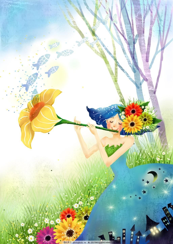 经典夏季手绘背景 经典花纹 韩国时尚花纹 创意背景 春季背景 手绘