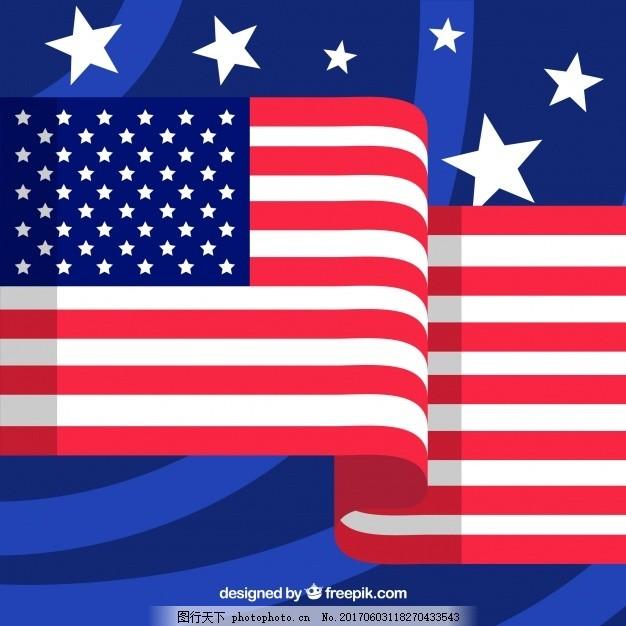 蓝色 国旗 星星 平面 平面设计 美国 文化 美国国旗 自由 国家 明星