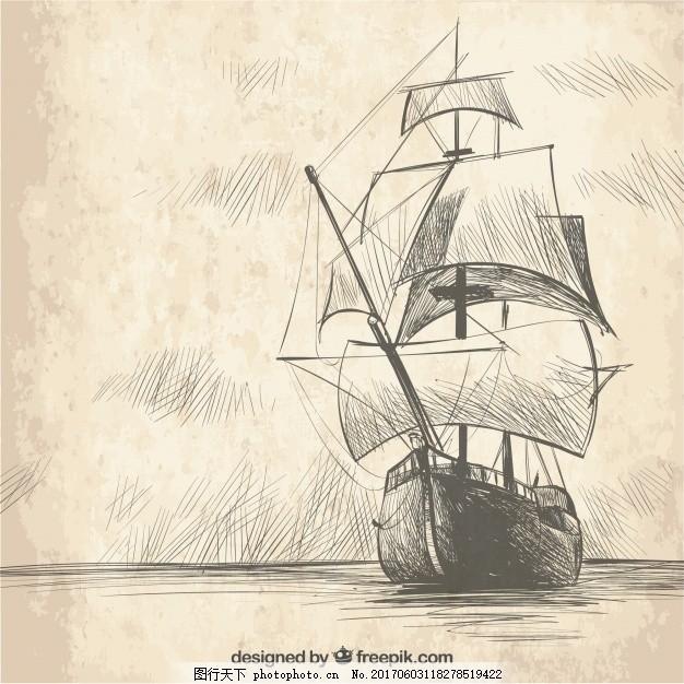 复古手绘帆船背景