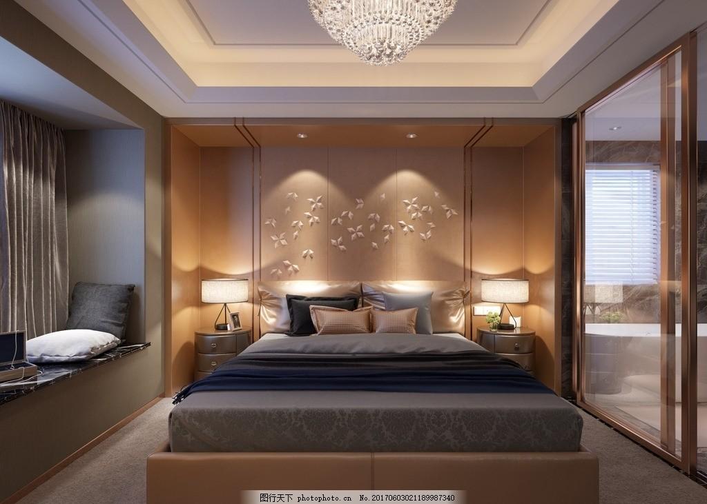 卧室效果图 简欧 欧式 现代 家装 室内装修 背景墙 床 吊顶