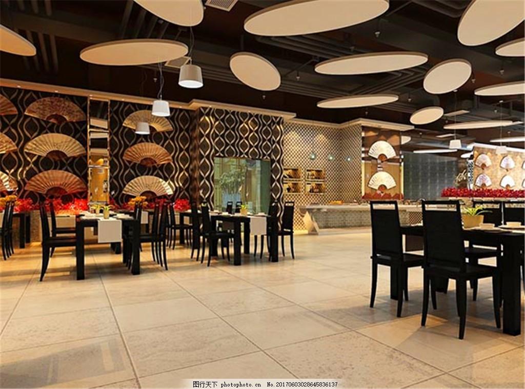 餐厅家装效果图设计 餐厅模型 吊顶 工装 西餐 顶面装饰 室内模型