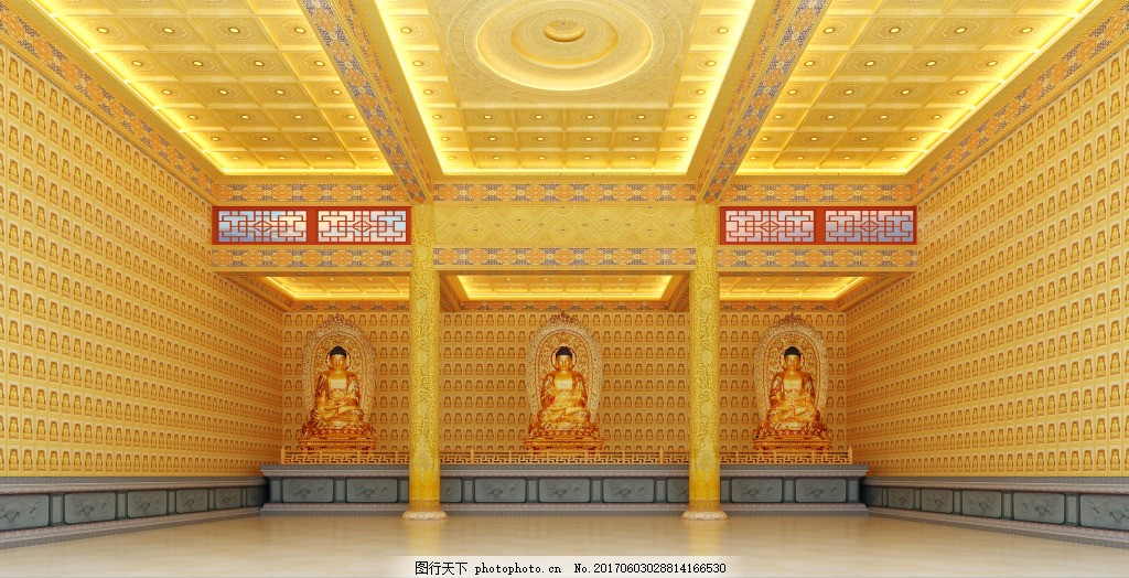 古建筑 寺庙 佛堂 彩绘天花横梁 大殿地宫 仿古青瓦 木雕 斗拱 石雕