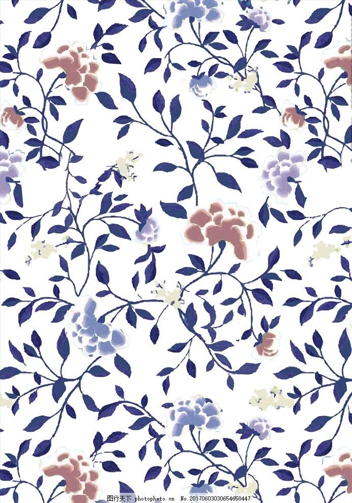 植物藤蔓花卉底纹素材下载 小花 手绘花朵 花朵花卉 植物花朵 绿叶