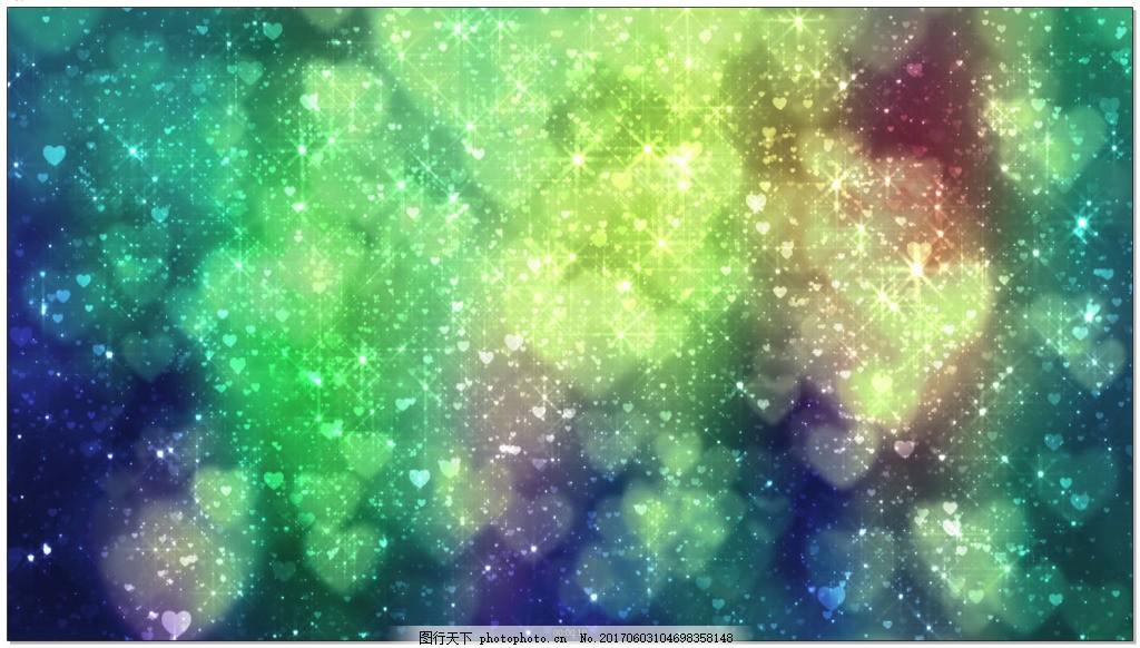 绿色闪光背景星空光点特效背景视频素材 光斑 光效 背景素材 心形