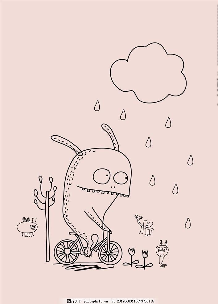 卡通动物下雨天骑车 卡通动物 清新 下雨天 雨滴 淋雨 骑车 鲨鱼 鲸鱼