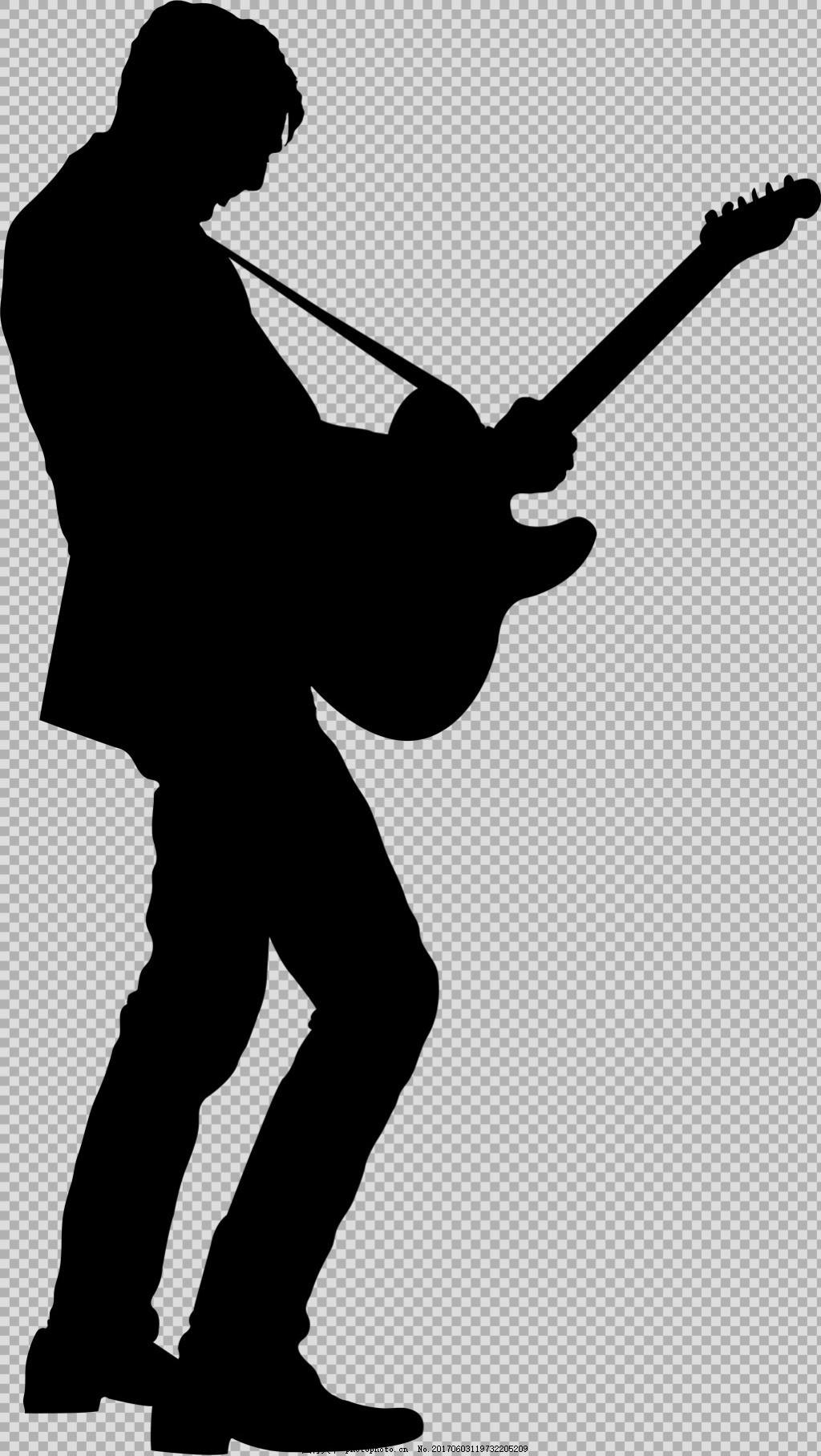 人物弹吉他剪影免抠png透明图层素材