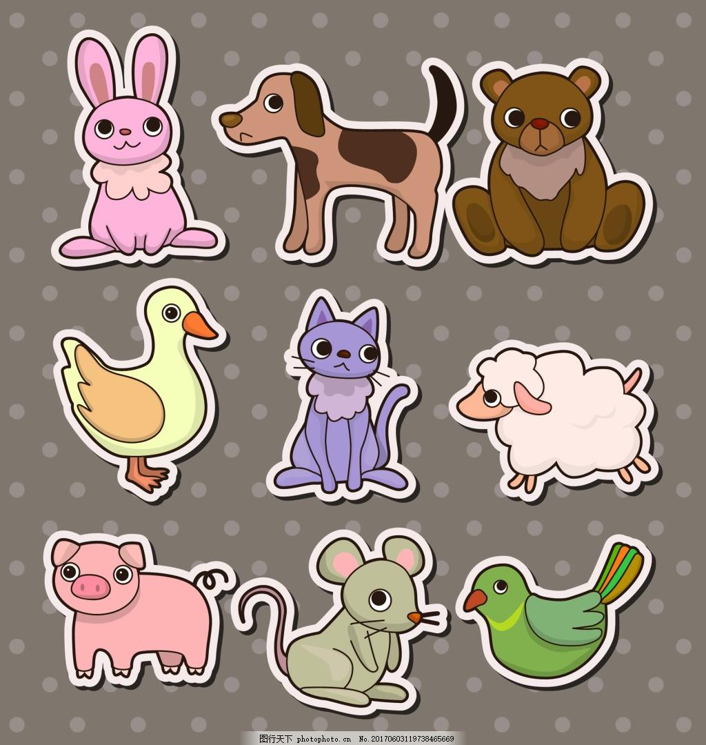 动物儿童卡通贴纸标签矢量 兔子 鸭子 小猪 老鼠 小鸟 小羊 手账