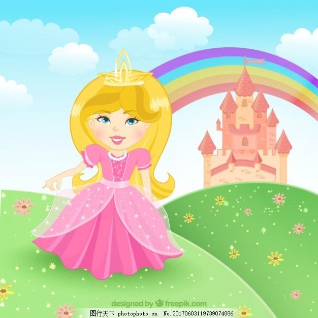 童话公主 皇冠 角色 粉色 可爱 服装 城堡 仙女 插图 幻想