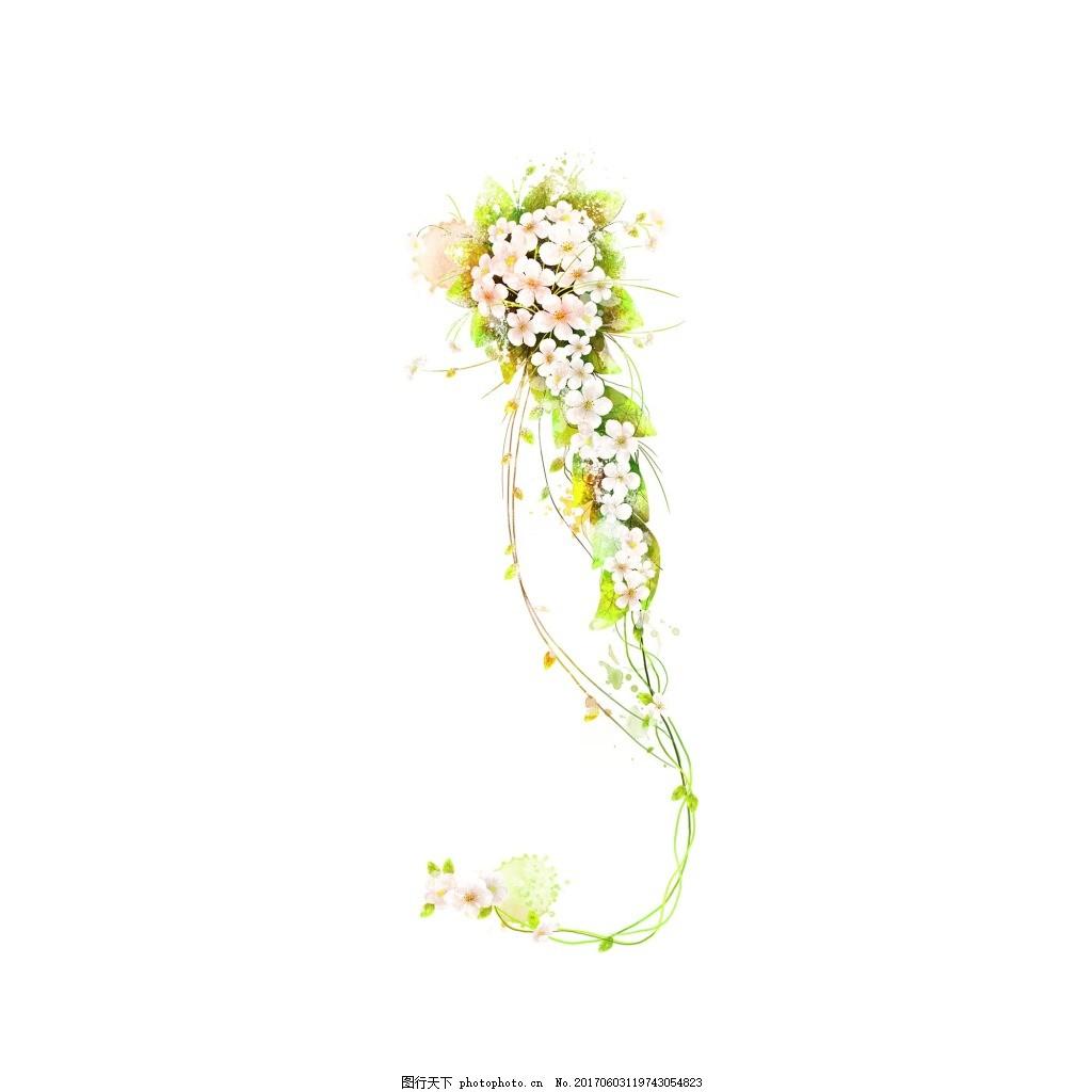 清新彩色花藤元素 手绘 清 新 彩色 花藤 花朵 元素