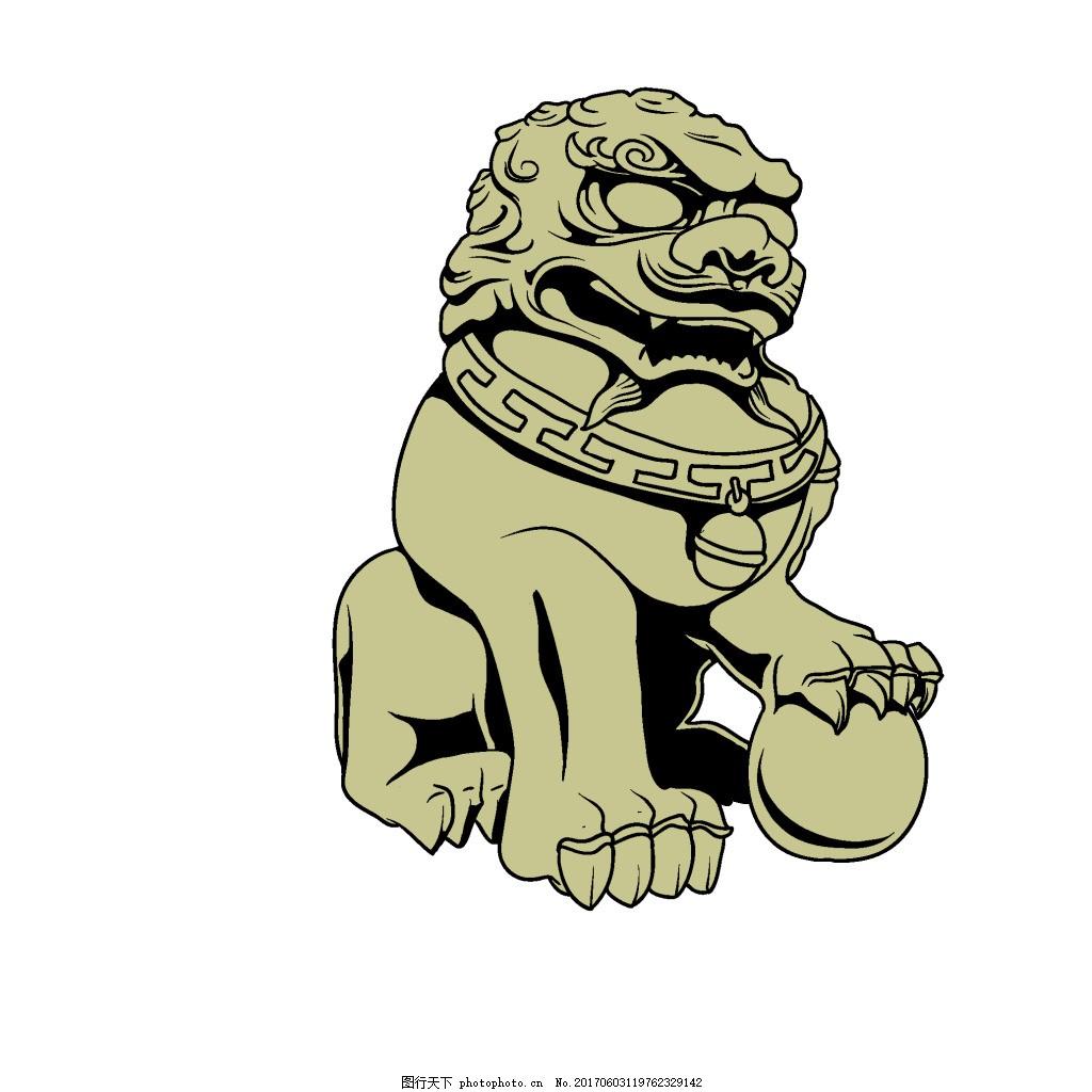 手绘威严石狮子元素