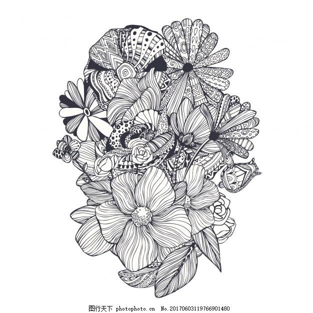手绘花艺设计 花卉 自然 春天 树叶 植物 开花 美丽 春天的花朵