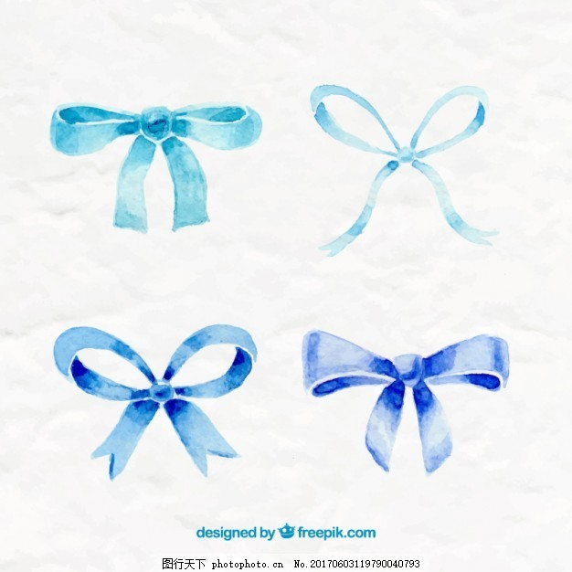 手绘蓝色蝴蝶结 水彩 丝带 手 蓝色 油漆 蝴蝶结 手绘 丝带弓 弓 画