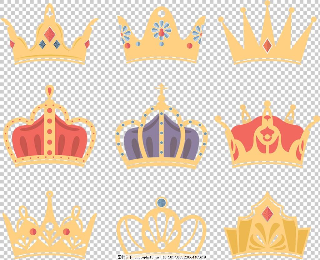 彩色镶钻皇冠图标免抠png透明图层素材