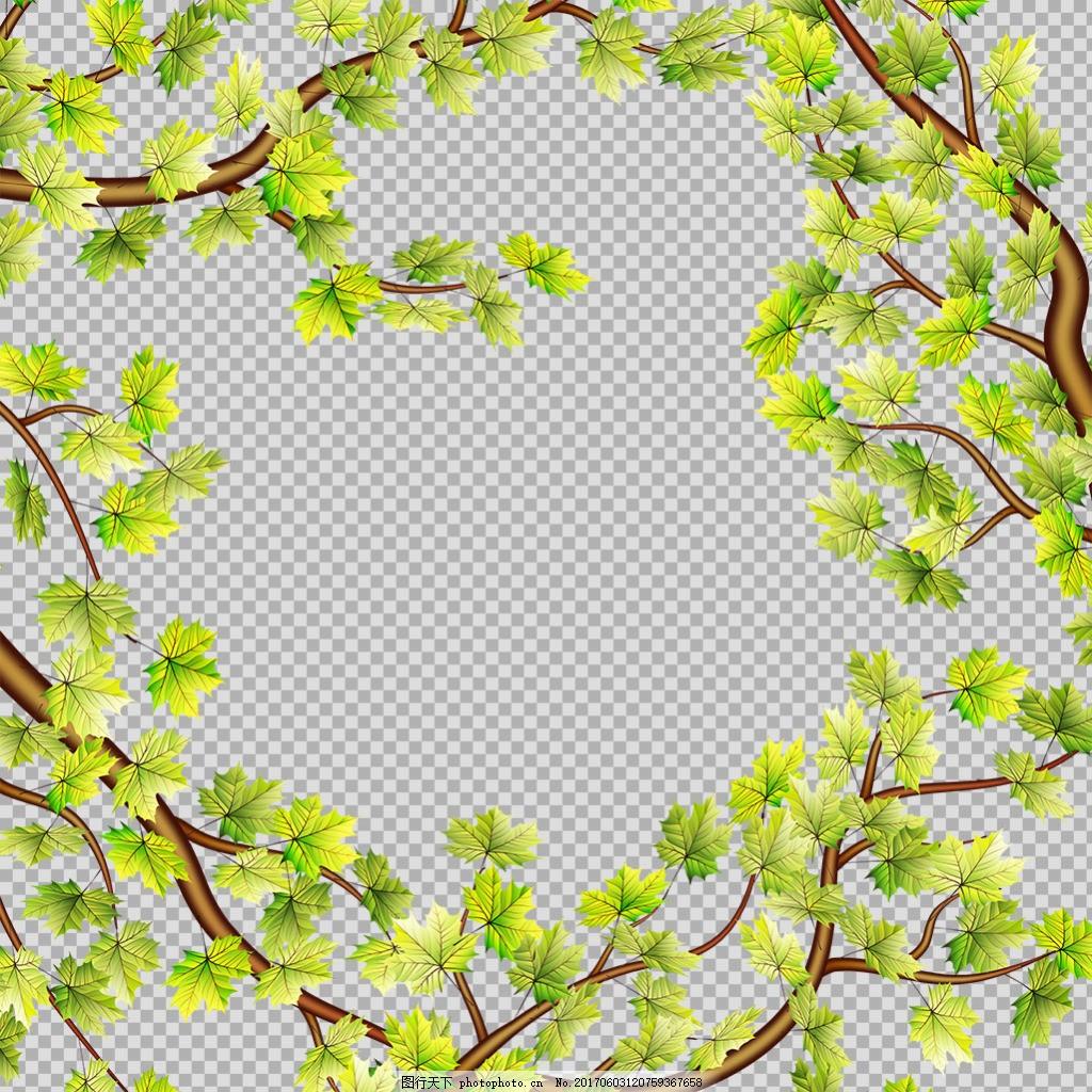 手绘叶子边框免抠png透明图层素材