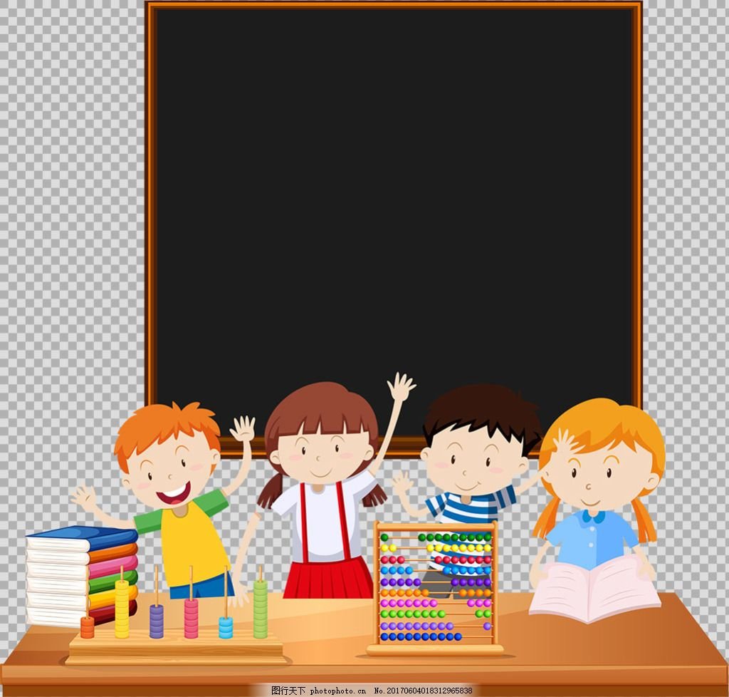 可爱小学生黑板背景免抠png透明图层素材
