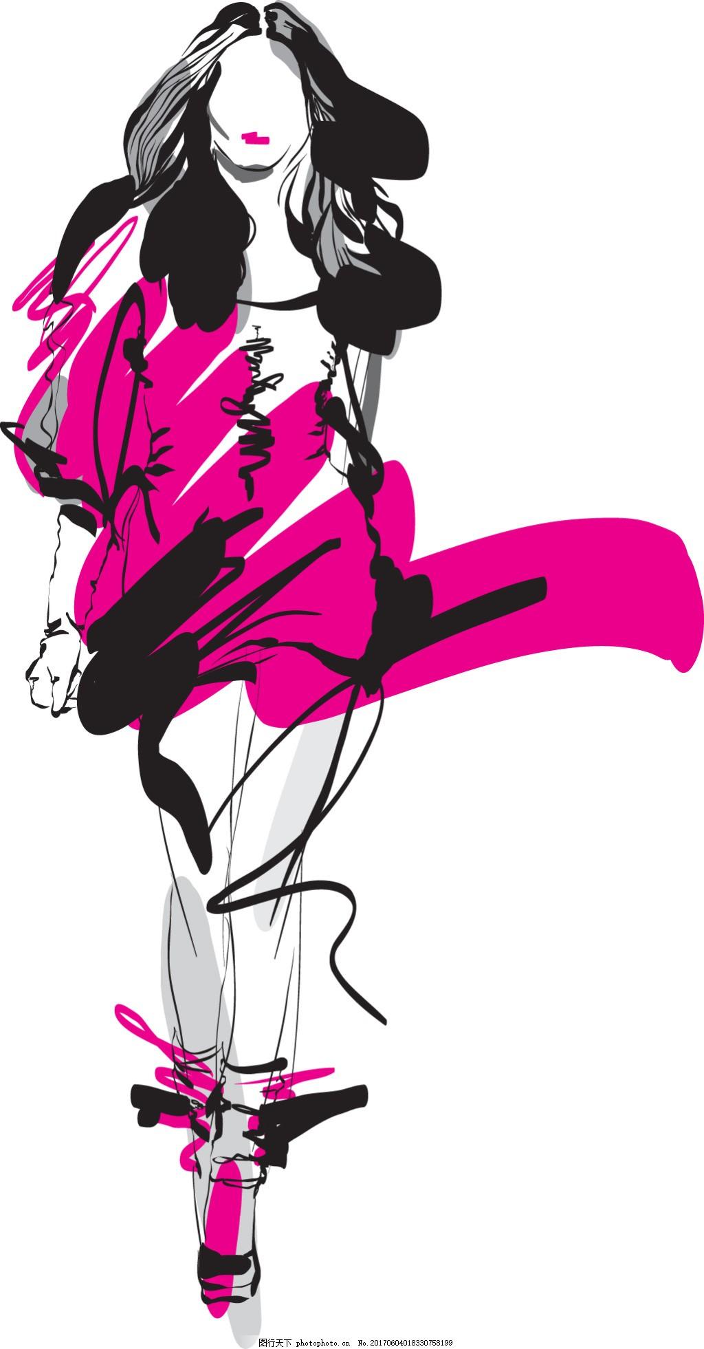手绘时尚模特 人物 艺术 设计稿 水彩