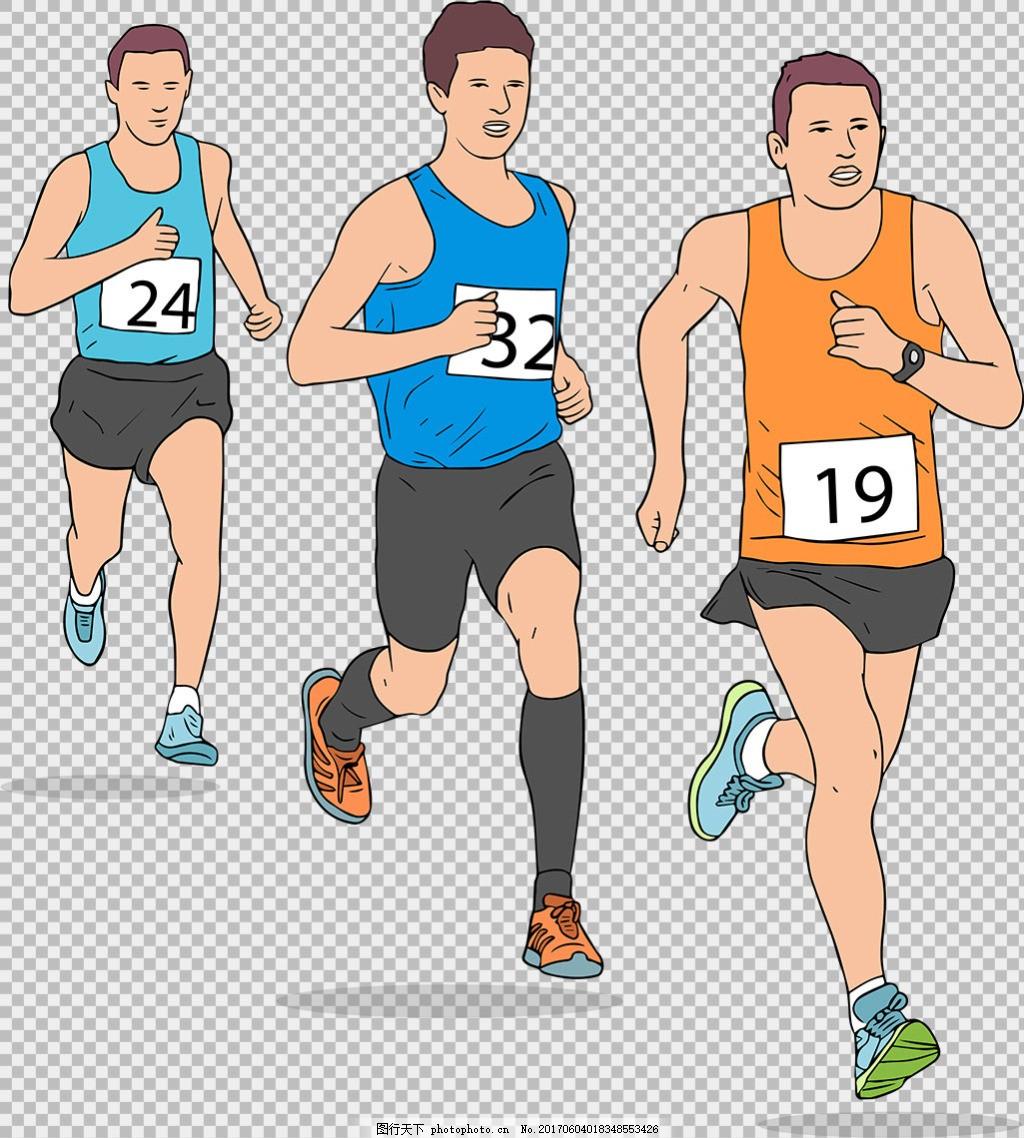 手绘跑步的男人免抠png透明图层素材 卡通奔跑的人 运动会 励志