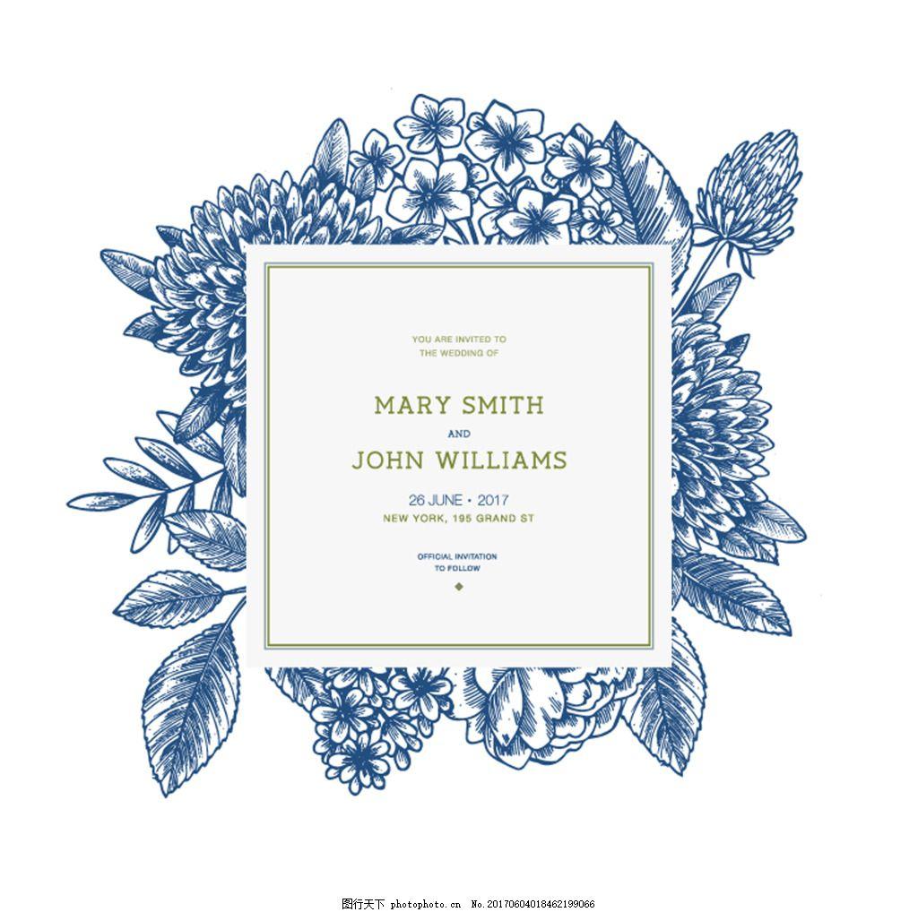插画 平面 设计 素材 蓝色 铅笔画 花朵 花卉 植物 时尚 手绘 线描