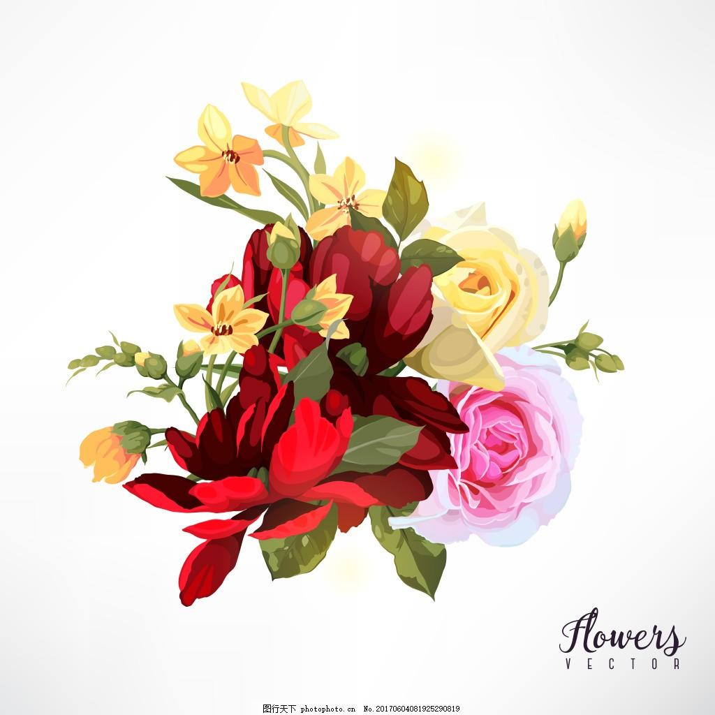 复古唯美玫瑰花矢量印刷高清设计素材 大红色 婚庆 婚礼 节日手绘