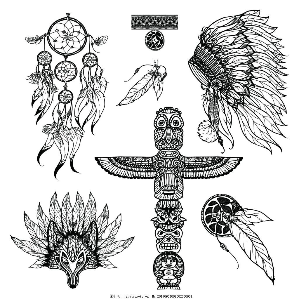 原始部落纹身图案矢量 羽毛 耳环 印度 面具 黑白 欧美 手绘