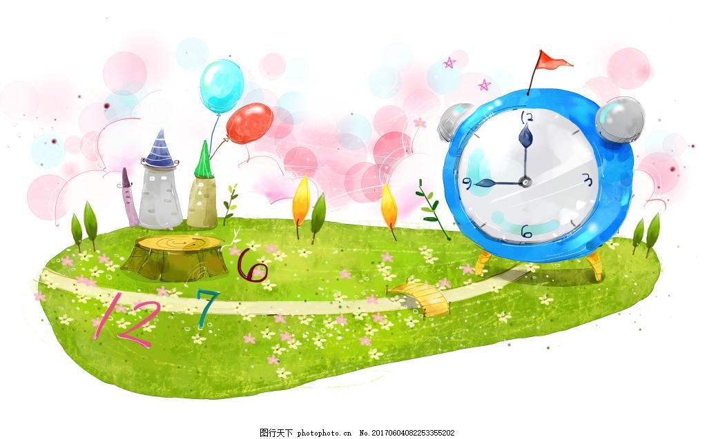手绘绿化时钟 环保 手绘背景 创意背景 春季背景 手绘风景 手绘夏季