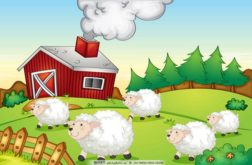 设计 背景 eps 素材免费下载 绿色 农场 小羊 房子 草地 树林 动物