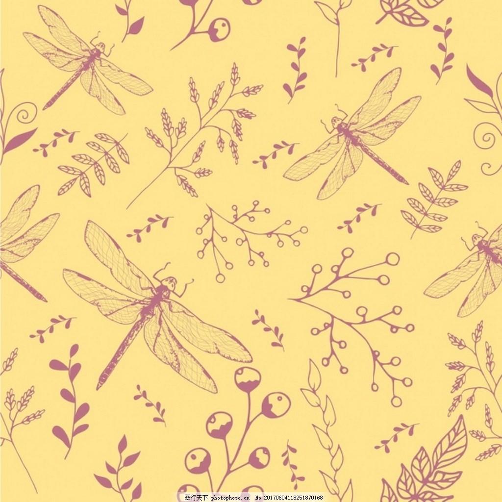 手绘蜻蜓树叶矢量图