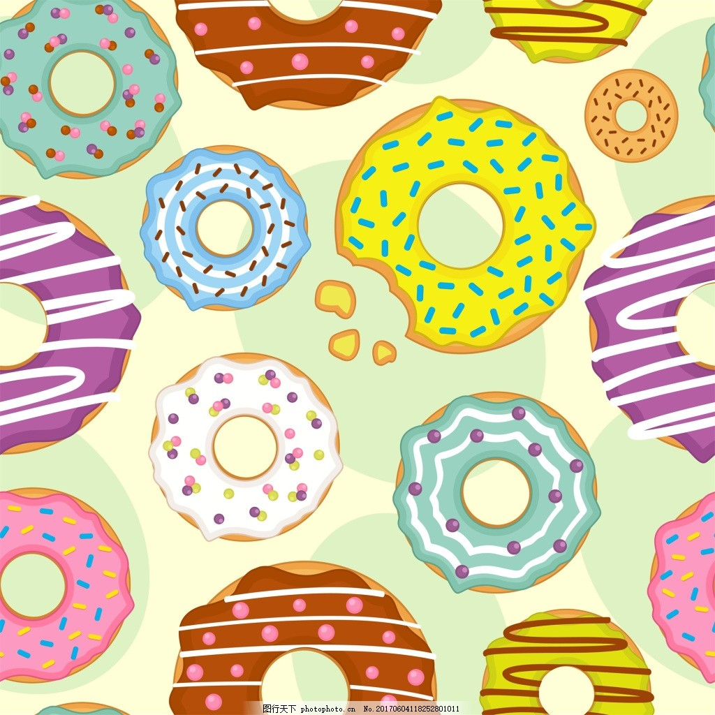 甜甜圈手绘卡通矢量图