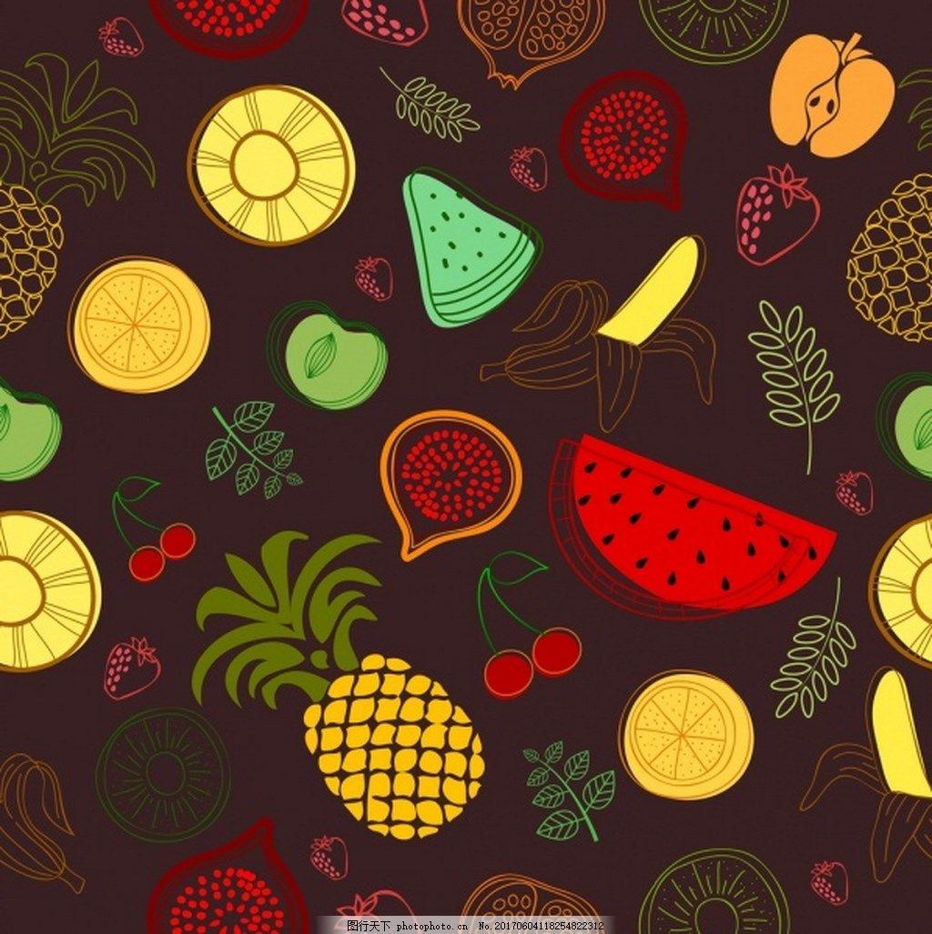 免费下载 手绘 水果 新鲜 矢量图 菠萝 西瓜 苹果 橙子 樱桃 叶子 有
