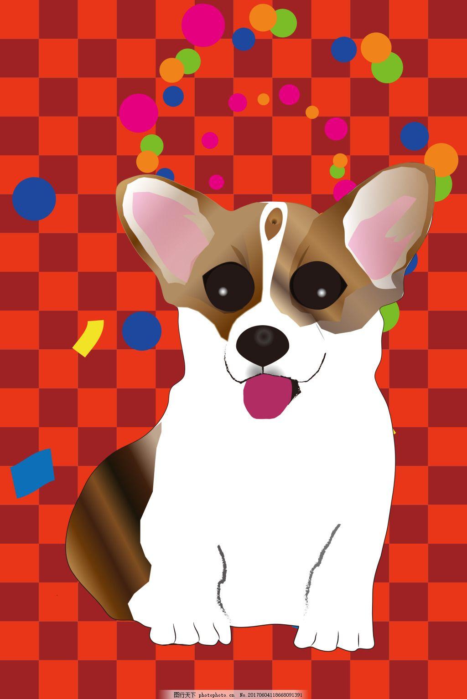 柯基锁屏瓷砖纹路手机壁纸 锁屏壁纸 彩带 狗狗 宠物狗 棋盘纹