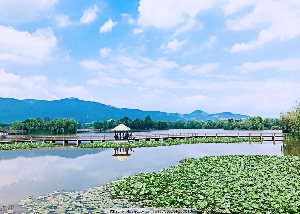 邛海 西昌 藍天 白云 湖 風景 山水 荷花 攝影