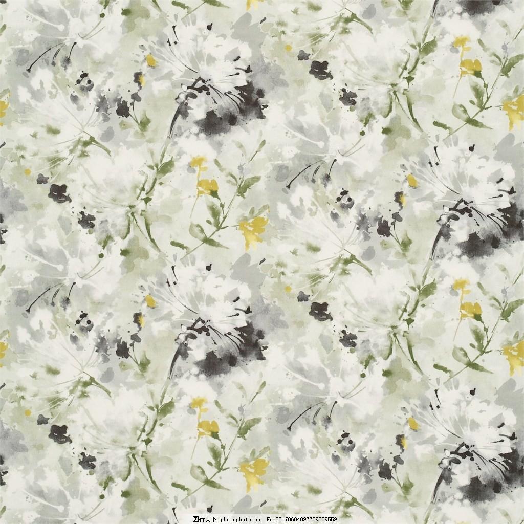 白色水墨花朵图案壁纸 中式花纹背景 壁纸素材 无缝壁纸素材 欧式花纹