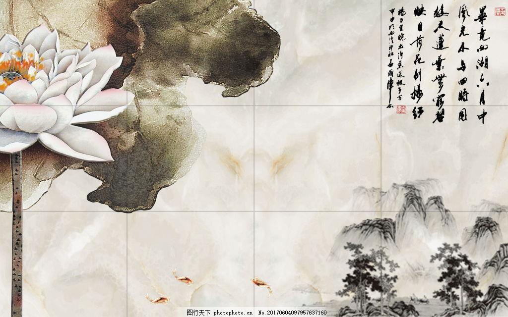 荷花电视背景 手绘花鸟 荷叶 树木树枝 小鸟山脉 壁画 卡通 装饰