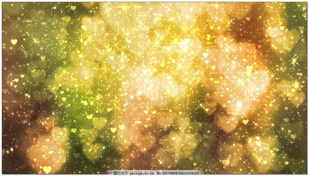 金色心形梦幻光斑背景 高清 光效 背景素材 视频素材