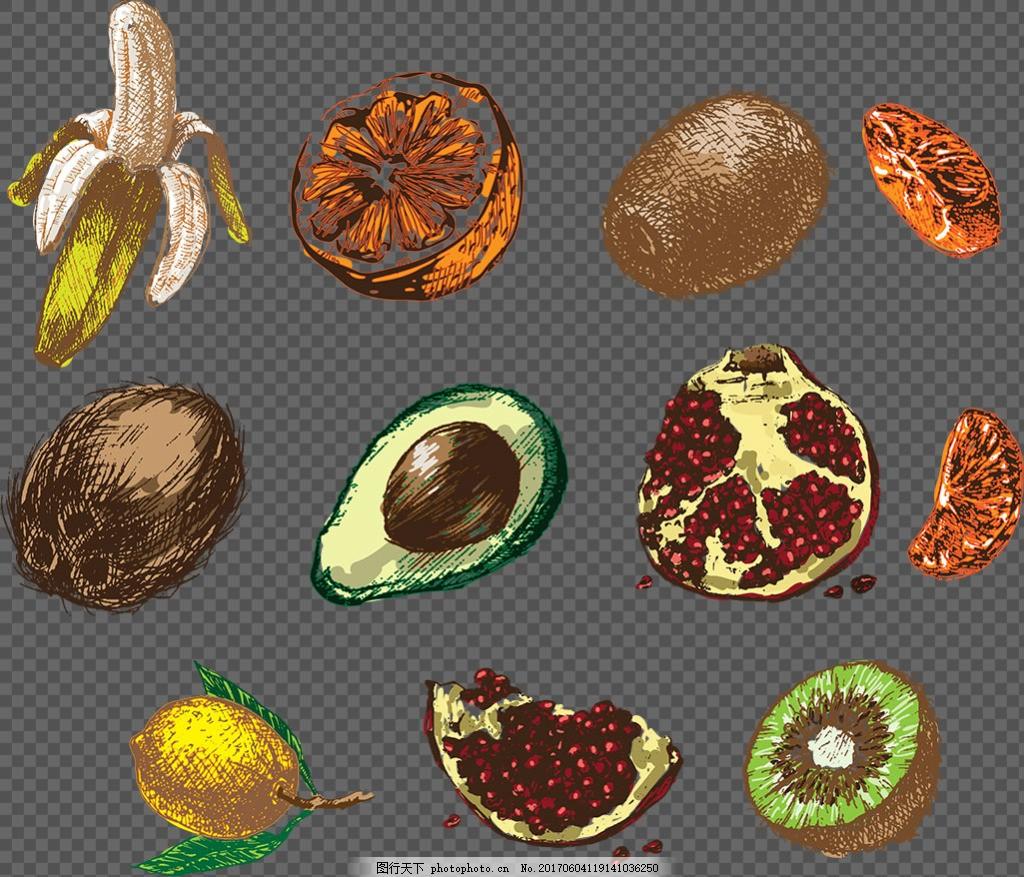 各种手绘水果插画免抠png透明图层素材 彩色水果 水果手绘 彩色素材