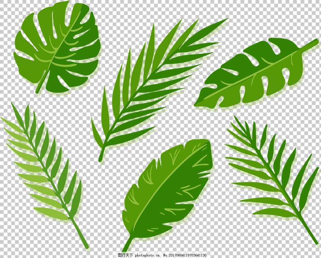 绿色棕榈叶子免抠png透明图层素材 树叶图案 金色 手绘 水彩