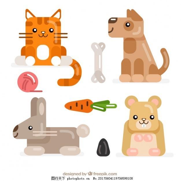 可爱的动物插图