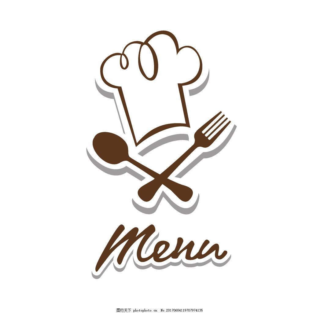 手绘刀叉帽子元素 西餐 餐具