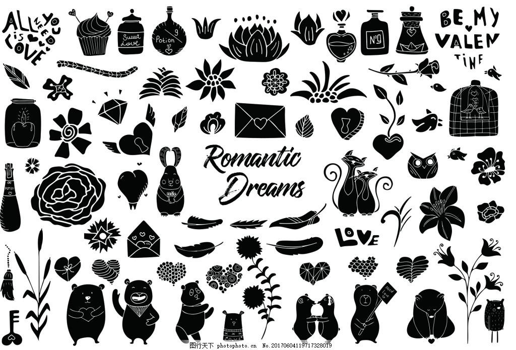 可爱爱心动物线稿素材矢量合集 黑白 动物 小熊 线稿 装饰 矢量 素材
