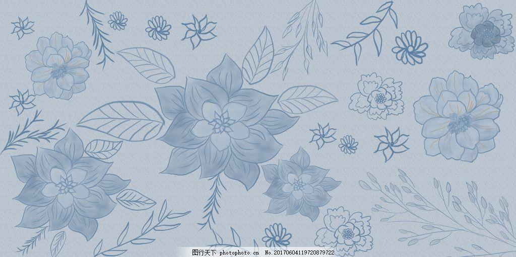 唯美手绘花 唯美背景 花叶 花背景 蓝色背景 花朵 花园 牡丹