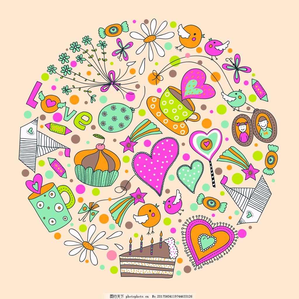 儿童涂鸦背景 底纹 圆形 儿童 涂鸦 背景 蛋糕 爱心 帆船 花朵