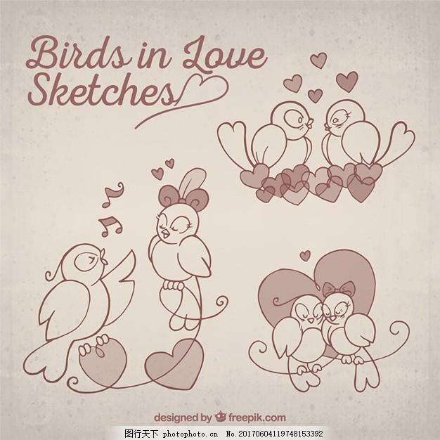 心 爱 一方面 鸟 手绘 情人节 庆祝 可爱的涂鸦 夫妇 涂鸦 浪漫 爱情
