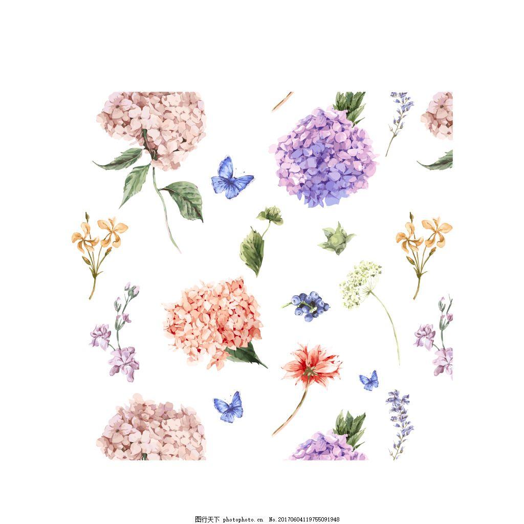 手绘鲜花边框元素