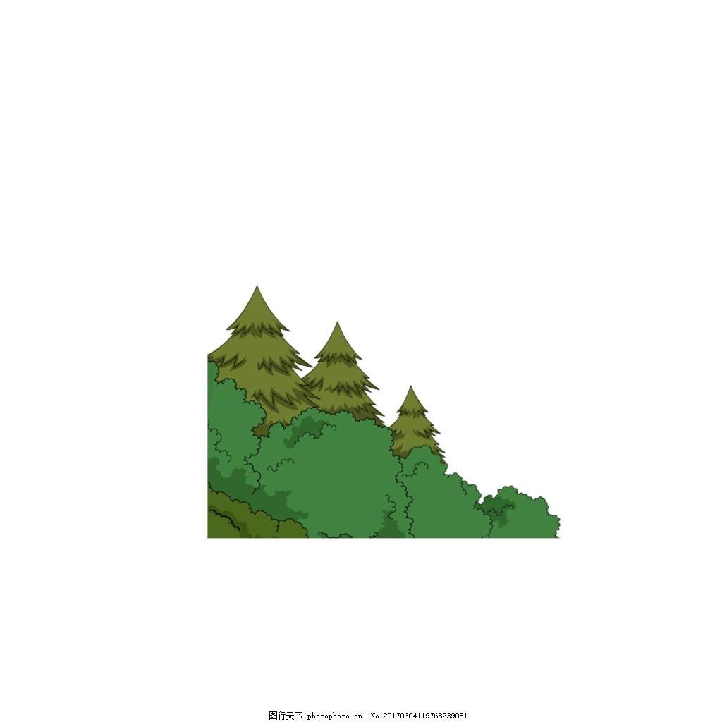 手绘绿色大树元素 手绘 森林 绿色 大树 元素