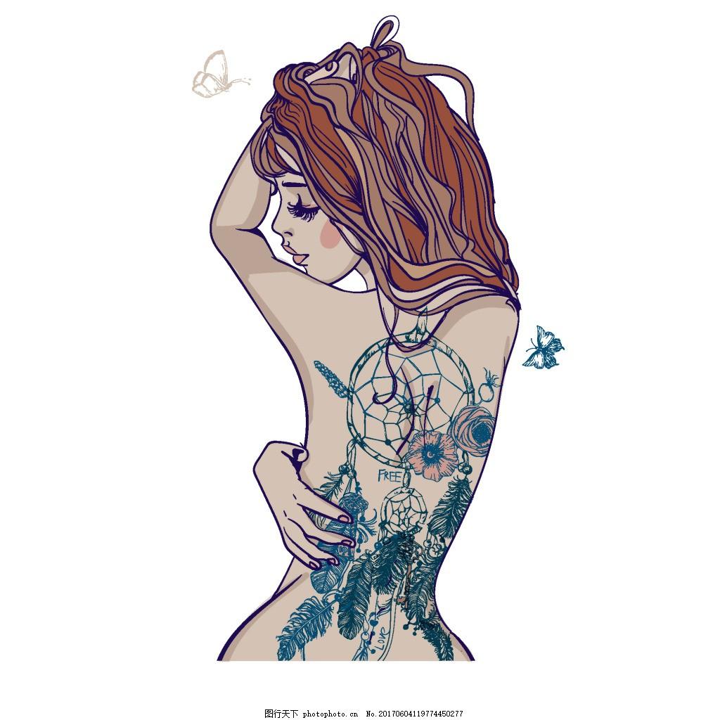 手绘美女纹身元素 卡通 花朵 蝴蝶