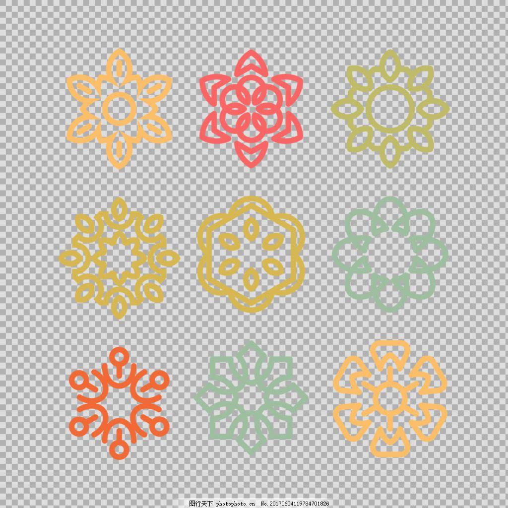 彩色曼陀罗花纹免抠png透明图层素材 雪花图标 几何对称花纹 唯美旋转